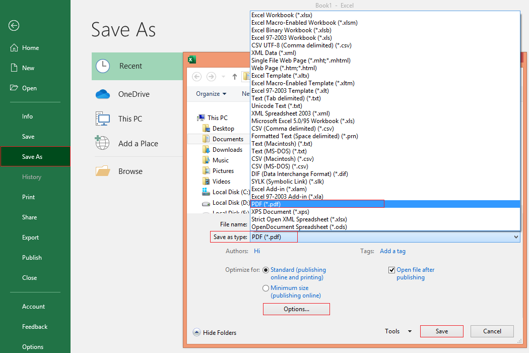 How to Save Excel Workbook as PDF