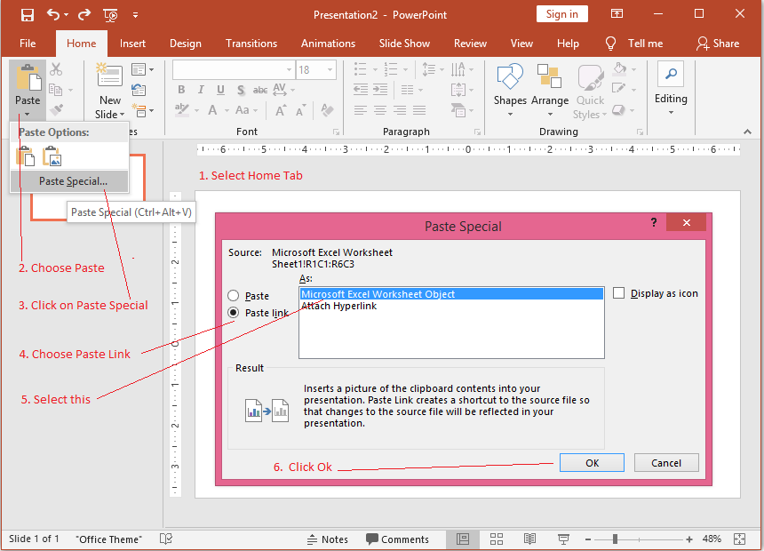 Paste Special to Link Excel Data to PowerPoint